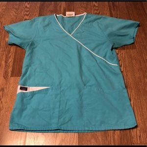 Sierra Scrubs blue & white scrub top